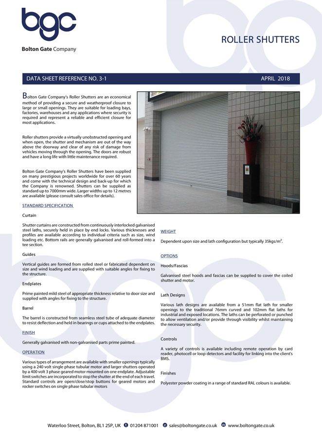 Roller Shutters data sheet Brochure
