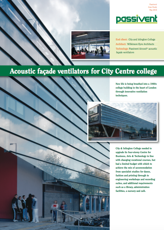 Acoustic facade Ventilators for City Centre College  Brochure