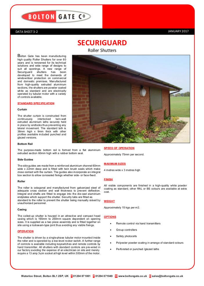 Securiguard Roller Shutters data sheet Brochure