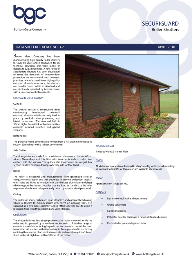 Securiguard Roller Shutters data sheet Brochure