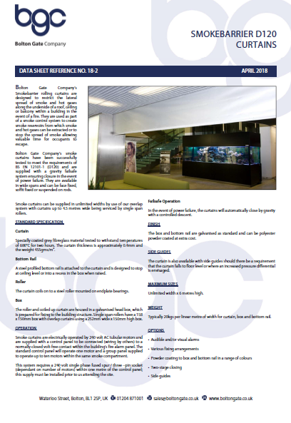 Smokebarrier D120 Curtains data sheet Brochure