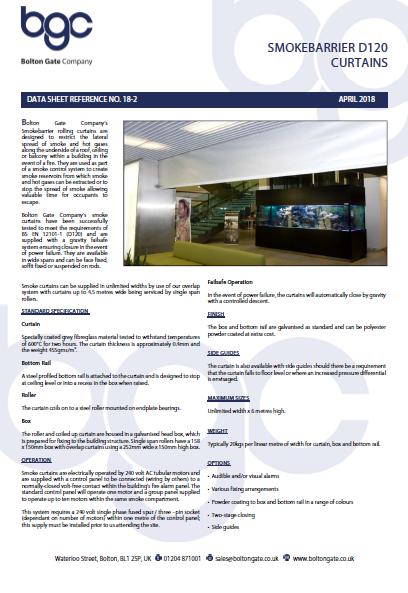 Smokebarrier D120 Curtains Data Sheet Brochure