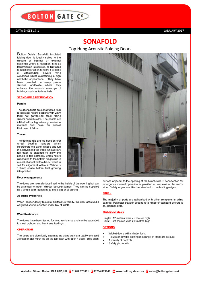 SONAFOLD Top Hung Acoustic Folding Doors Brochure