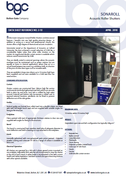 SONAROLL Acoustic Roller Shutters data sheet Brochure