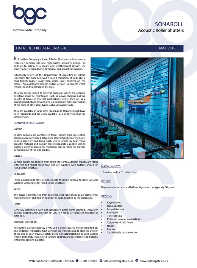 SONAROLL Acoustic Roller Shutters data sheet Brochure