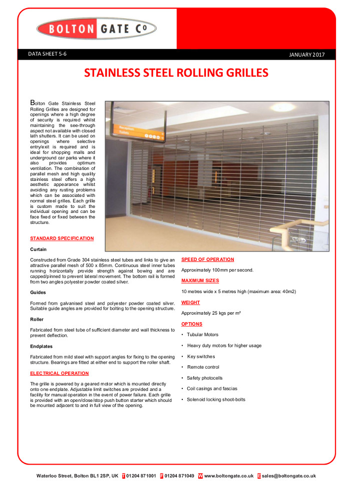 Stainless Steel Rolling Grilles data sheet Brochure