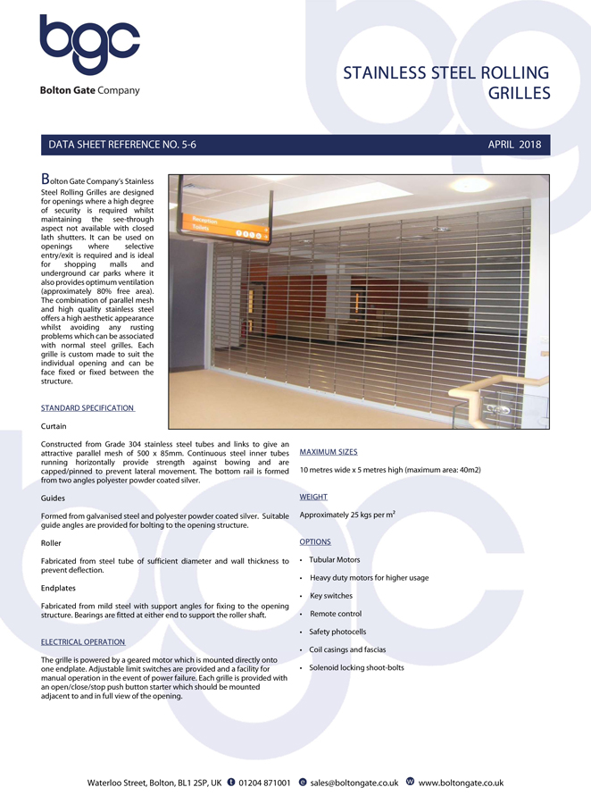 Stainless Steel Rolling Grille Data Sheet Brochure