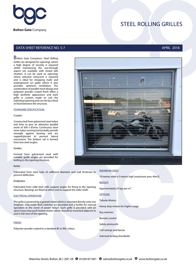 Steel Rolling Grille Data Sheet Brochure