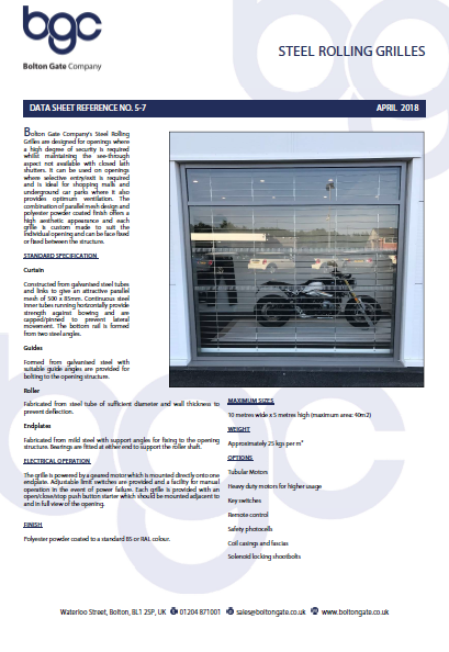 Steel Rolling Grilles data sheet Brochure