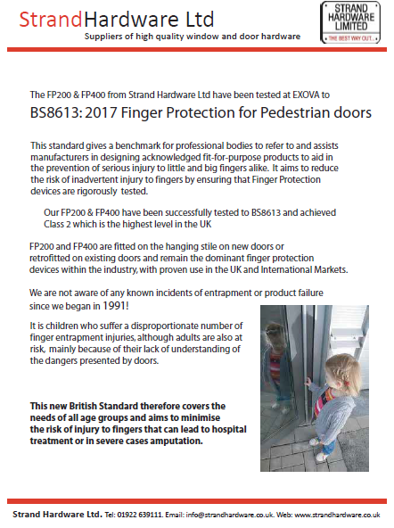 Finger Protection for pedestrian doors Brochure