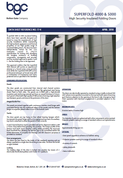 SUPERFOLD 4000 & 5000 Top Hung High Security Insulated Folding Doors Brochure