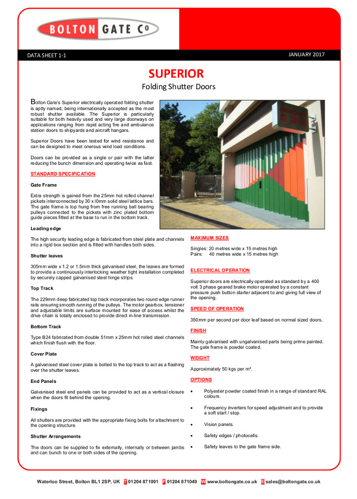 SUPERIOR Folding Shutter Doors data sheet Brochure