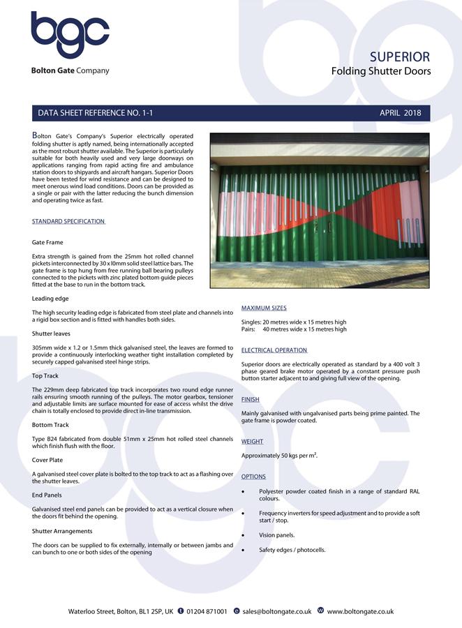 SUPERIOR Folding Shutter Doors data sheet Brochure