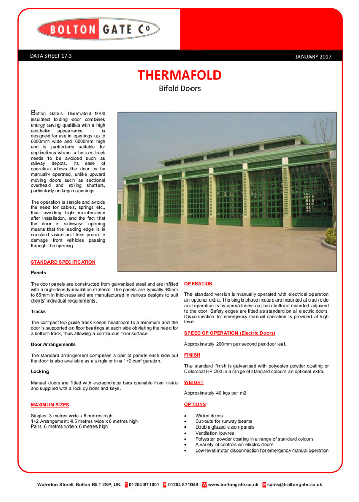 THERMAFOLD Bifold Doors data sheet Brochure