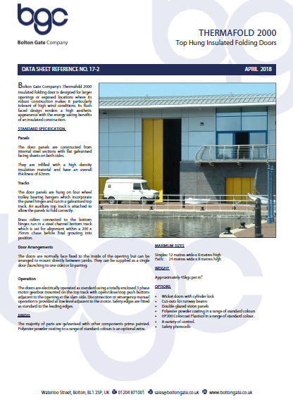 THERMAFOLD 2000 Top Hung Insulated Folding Doors data sheet Brochure