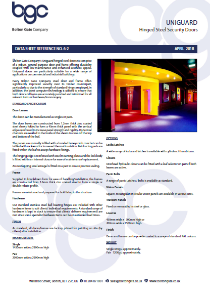 UNIGUARD Hinged Steel Security Doors data sheet Brochure