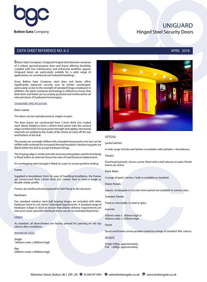 Uniguard Hinged Doors data sheet Brochure