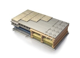 AcoustiPanel™14; Combined Knauf acoustic floor deck solution with integrated Nu-Heat warm water underfloor heating.