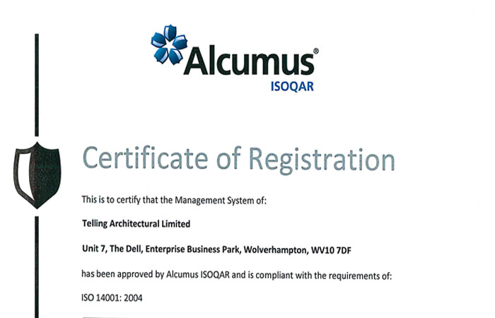 Telling gained ISO 14001 certification