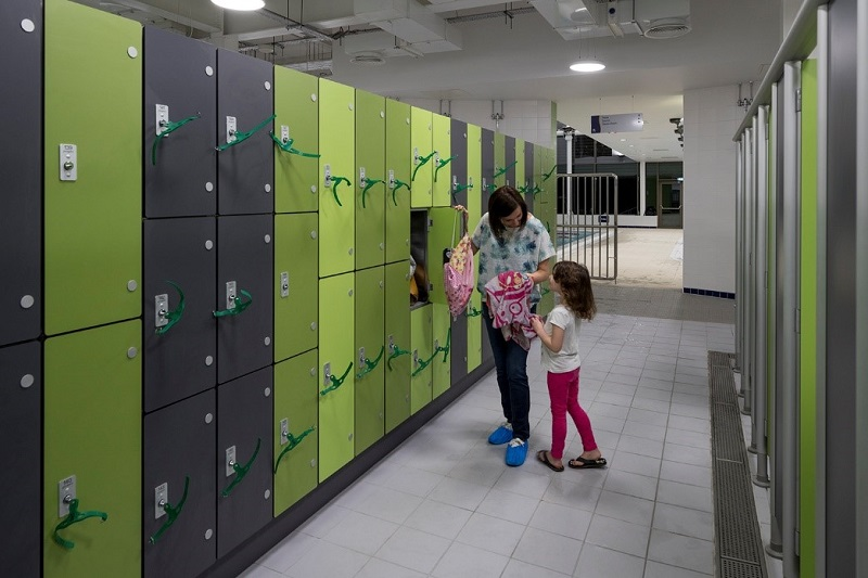 Formica Compact laminate secured for changing room lockers
