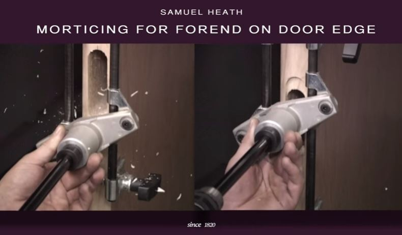 Powermatic concealed door closer installation using morticing tool
