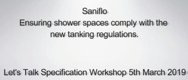 Saniflo Tanking Regulations Seminar @ Futurebuild 2019