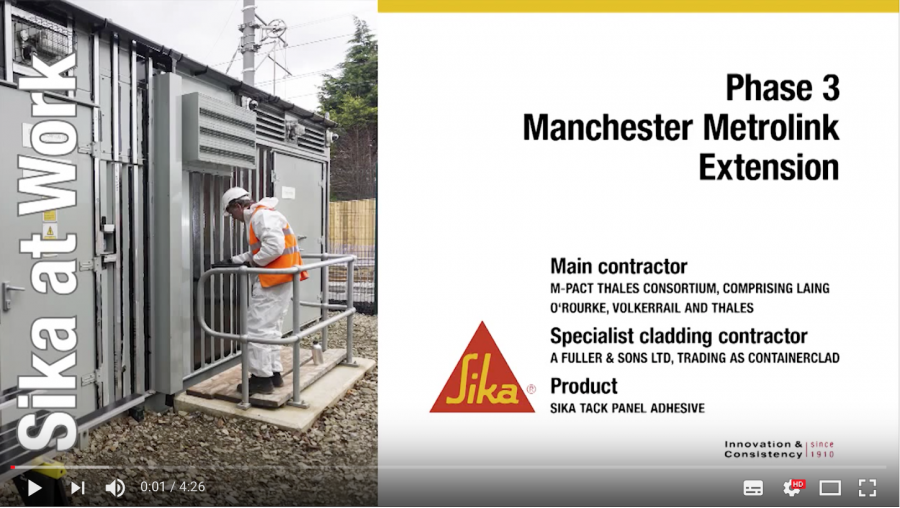 SikaTack Panel Adhesive System Installation at Manchester Tram
